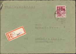 Bizone 60 Pfg.Bauten Auf Einschreiben-Fernbrief-Vorderseite V.1948 Aus Osnabrück Einkreisstegstempel - Bizone