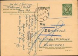 Frz.Zone Württ.Hohenz.  6 Pfg Ganzsache D.amerik. Zone P 901 Nicht Anerkannt Nachgebühr Tübingen 1946 - French Zone