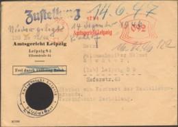 SBZ Zustellungsurkunde Ortsbereich V.1946 M.Freistempel D.Amtsgerichts Leipzig Nazi-Symbol Ausgeschnitten - Soviet Zone