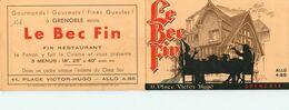 """GRENOBLE-dépliant Sur """"le Bec Fin"""" 11 Place Victor Hugo - Grenoble"""