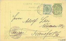 BELGIUM. POSTAL STATIONARY TO FRANKFURT. - Stamped Stationery