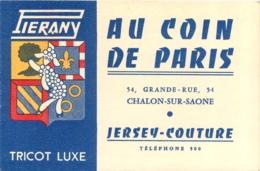 CALENDRIER 1957 AU COIN DE PARIS A CHALON SUR SAONE  54 GRANDE RUE FORMAT 12 X 8 CM FERME - Small : 1941-60