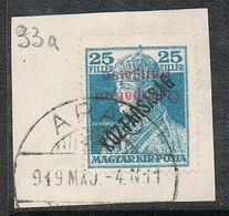 HONGRIE N°33a SUR FRAGMENT  Variété Surcharge Renversée - Ungarn (1919)