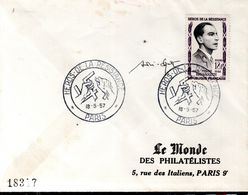 LETTRE 1ER JOUR FRANCE 1957 - PIERRE BROSSOLET, HEROS DE LA RESISTANCE - SIGNATURE DU GRAVEUR, SPITZ - - Militaria
