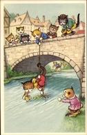 Artiste Cp Vermenschlichte Katzenkinder Auf Einer Brücke - Animaux & Faune