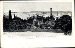 Cp Pola Pula Kroatien, Park Und Kriegshafen, Kuk Kriegsmarine, Kriegsschiffe - Croatia