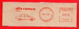 1973 FRA - AUTO ALFA ROMEO 2000 - EMA METER STAMP FREISTEMPEL AFFRANCATURA MECCANICA ROSSA - Autos