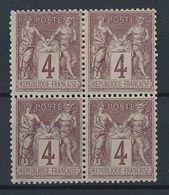 DS-102: FRANCE: Lot Avec SAGE EN BLOC DE 4 N°88* - 1876-1898 Sage (Type II)
