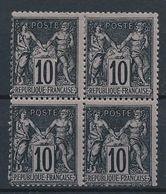 DS-106: FRANCE: Lot Avec SAGE EN BLOC DE 4 N°103**/*-101a*- (2 Timbres **. Léger Pli En Haut Au Verso) - 1898-1900 Sage (Type III)