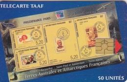 Télécarte 50U, Tirage 1500, Philex-France 99 - TAAF - Terres Australes Antarctiques Françaises