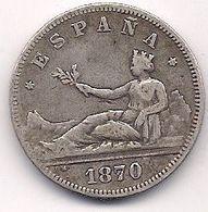 ESPAÑA - 2 PESETAS DE PLATA DE 1870 - SE VE LA ESTRELLA 1* Y 73* - [ 1] …-1931 : Royaume