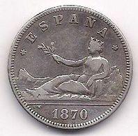 ESPAÑA - 2 PESETAS DE PLATA DE 1870 - SE VEN LAS ESTRELLAS 18* Y 73* CLARAMENTE - [ 1] …-1931 : Royaume