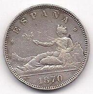 ESPAÑA - 2 PESETAS DE PLATA DE 1870 - SE VEN LAS ESTRELLAS 1* Y 73* CLARAMENTE - [ 1] …-1931 : Royaume