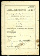 MILITAIR RIJBEWIJS * VELDLEGER MOBILISATIE UITGEGEVEN IN 1939 * 7e REGIMENT INFANTERIE * SOLDAAT CHRIS TON   (11.815) - Documents Historiques