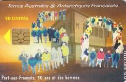 Télécarte 50U, Tirage 1500, Port Aux Français : 50° Mission à Kerguelen - TAAF - Terres Australes Antarctiques Françaises