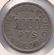 FICHA DE RECREATIVOS FRANCO DE 2000 PESETAS - Casino