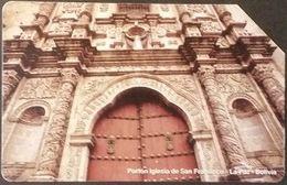 Telefonkarte Bolivien - Kirchenportal - La Paz - Bolivien