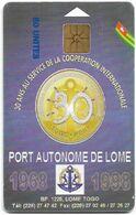 Togo - OPTT (Chip) - 30th Anniversary Of Togo Port, Gem1A Symmetr. Black, 50Units, Used - Togo