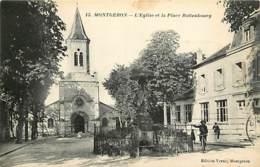 91 - Montgeron - L'Eglise Et La Place Rottenbourg - Animée - Correspondance - CPA - Voir Scans Recto-Verso - Montgeron