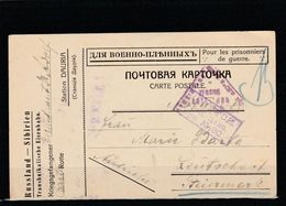 EX-PR-20-07-89 POST CARD SEND FROM DAURIA STATION (SIBIR) VIA IRKUTSK (WAR CENZOR # 30) TO AUSTRIA. - Covers & Documents