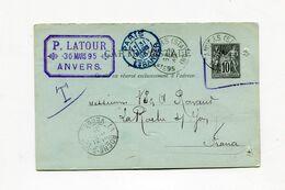 !!! ENTIER POSTAL CARTE REPONSE 10 C UTILISEE A ANVERS LE 30/3/1895 POUR LA ROCHE SUR YON - Standard Postcards & Stamped On Demand (before 1995)