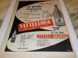 ANCIENNE PUBLICITE EN GRANDE BOUTEILLE  L EAU VITTEL 1955 - Affiches