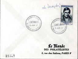 LETTRE 1ER JOUR FRANCE - LAMNNAIS - SIGNEE PAR LE GRAVEUR, CHARLES MAZELIN - - Andere