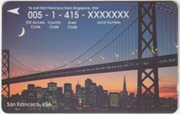 SINGAPORE B-905 Magnetic SingTel - Landmark, Golden Gate Bridge, San Francisco - 34SIGN - Used - Singapore