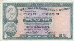 BILLET HONG KONG De 1970 - TEN DOLLARS 10 $ - Pick N° 182g - Hongkong