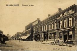 Erquelinnes Face De La Gare Circulée En 1912 - Erquelinnes