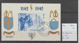België 1942 - Yv. Blok 21 Gest./obl./used - Blocks & Sheetlets 1924-1960