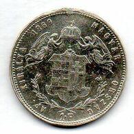 HUNGARY, 1 Forint, Silver, Year 1869, KM #449.2 - Hungary