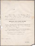 UCCLE COLINEZ Louis Conseiller Cour De Cassation époux NERENBUERGER 74 Ans 1864 - Obituary Notices