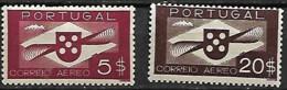 Portugal 1936 Correio Aéreo Hélice, 2 Val MLH (ligeiro Sinal De Charneira + Denteado Superior Do Selo De 5$) - Neufs
