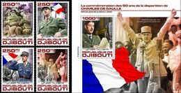 Djibouti 2020, De Gaulle, Churchill, 4val +BF - Gibuti (1977-...)