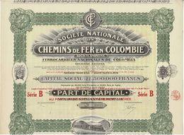 Titre Ancien - Société Nationale De Chemins De Fer En Colombie - Titre De 1925 - Déco - N° 107925 - Chemin De Fer & Tramway