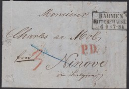 BARMEN-RITTERSHAUSEN R3 1859 Brief Mit P.D. + Taxe Nach NINOVE Belgien   (27187 - Zonder Classificatie