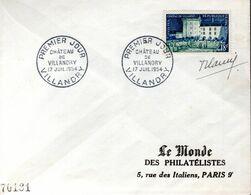 LETTRE 1ER JOUR FRANCE 1954 - CHATEAU DE VILLANDRY - SIGNEE PAR LE GRAVEUR, ROBERT CAMI - - Kastelen