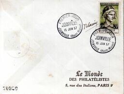 LETTRE 1ER JOUR FRANCE 1957 - JOINVILLE - SIGNEE PAR LE GRAVEUR, ROBERT CAMI - - Andere
