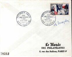 LETTRE 1ER JOUR FRANCE 1954 - 150E ANNIV. DE L'ECOLE MILITAIRE DE SAINT CYR - SIGNEE PAR LE GRAVEUR,CHARLES MAZELIN - - Militaria