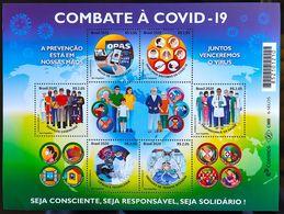 Brazil Stamp Mini Sheet Combat Pandemic À COVID-19 Saúde Healthy Map Profession Family 2020 - Ungebraucht
