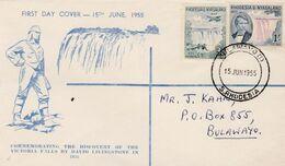 Rhodesia, & Nyasaland, First Day Cover, Centenary Of Discovery Of Victoria Falls, BULAWAYO 15 JUN 1955 - Rhodesia & Nyasaland (1954-1963)