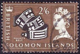 BRITISH SOLOMON IS 1965 QEII 2/6 Black, Olive-Brown & Light-Brown SG123 FU - British Solomon Islands (...-1978)