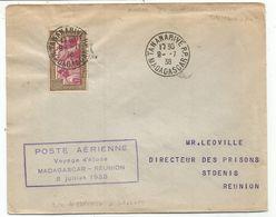MADAGASCAR 65C SEUL LETTRE TANANARIVE RP 9.7.1938 POUR ST DENIS ILE DE LA REUNION VOYAGE ETUDE - Covers & Documents