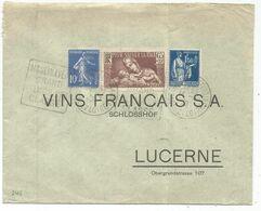N°365+279+288 LETTRE DAGUIN MOULIN A VENT GRAND PREMIER CRU SAONE ET LOIRE 1939 POUR SUISSE - Marcophilie (Lettres)