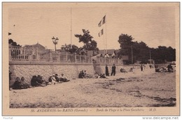 A2 - 33) ANDERNOS LES BAINS (GIRONDE) BORDS DE PLAGE A LA PLAGE GAMBETTA  - (ANIMEE - 2 SCANS) - Andernos-les-Bains
