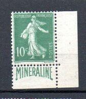I-1 France N° 188A ** MINERALINE Coin De Carnet à 10% De La Côte !!! - 1906-38 Semeuse Camée