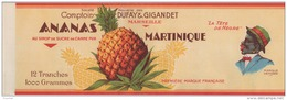 "B18- ETIQUETTE -  MARSEILLE - COMPTOIR DUFAY & GIGANDET - ANANAS AU SIROP  - """" LA TÊTE NÈGRE """"  - 33 X 11 - Frutta E Verdura"