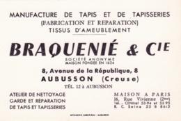 Carte De Visite BRAQUENIE Et Cie - Aubusson - 8 Avenue De La Republique - Manufacture De Tapis Et Tapisseries - Cartes De Visite