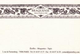 Carte De Visite BRAQUENIE Et Cie - Paris - 3 Rue De Furstenberg - Tapis - Tapisseries - Etoffes - Visitekaartjes